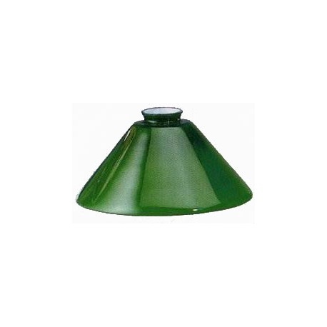 Paralume vetro 25cm cono verde ricambio lampada lampadario