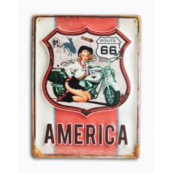 Pannello targa placca latta metallo America Route 66 pin up