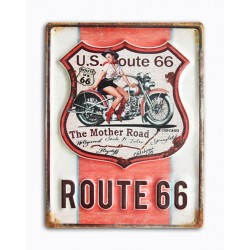 Pannello targa placca latta metallo pin up moto Route 66 US