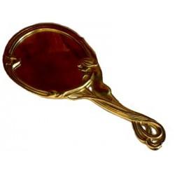 Specchio a mano in ottone da borsetta stile liberty vintage