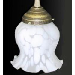 Paralume vetro 11cm petunia bianco ricambio lampada lampadario