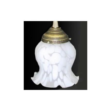Paralume vetro 11cm petunia bianco ricambio lampada lampadario ...