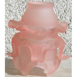 Paralume vetro 12cm rosetta rosa ricambio lampada lampadario
