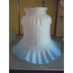 Paralume vetro 11cm bianco azzurro ricambio lampada lampadario