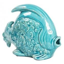 Statua statuina pesce ceramica soprammobile celeste