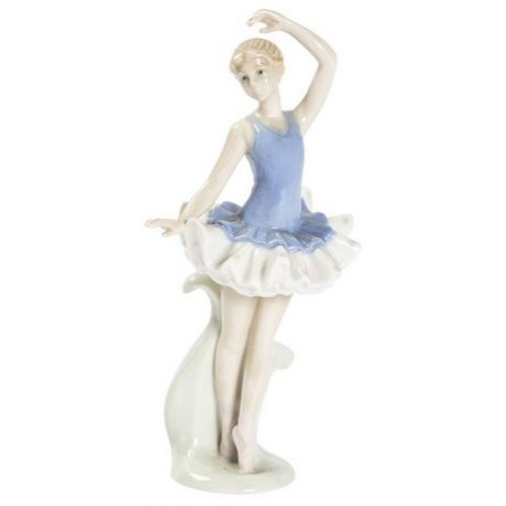 Ballerina di porcellana statua statuina tutù azzurro danza