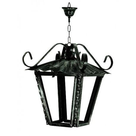 Lampadario 20cm lanterna ferro battuto vetro catena rustico interno esterno luce