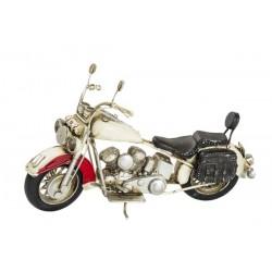 Modellino moto motocicletta chopper bianco latta modellismo collezionismo pelle