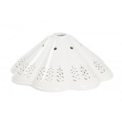 Paralume piatto ceramica bianco traforato lampada ricambio applique lampadario