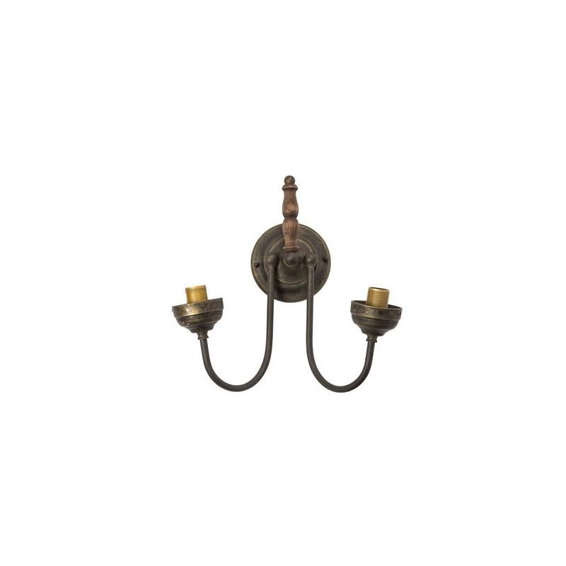 Applique da muro ottone brunito legno vintage lampada for Applique da parete legno