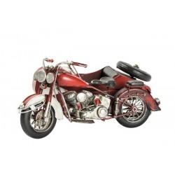 Modellino moto motocicletta sidecar rosso in latta modellismo collezionismo