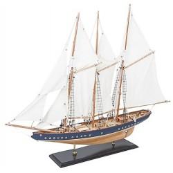 Modellino miniatura barca a vela marrone blu marittimo collezionismo nave legno