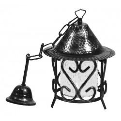 Lampadario 21cm lanterna ferro battuto vetro catena rustico interno esterno luce