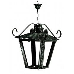 Lampadario 17cm lanterna ferro battuto vetro catena rustico interno esterno luce