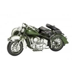 Modellino moto sidecar motocicletta verde in latta modellismo collezionismo