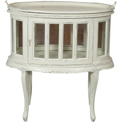 Credenza mobile bar tavolo legno bianco anta vetro vassoio vintage vetrinetta