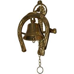 Campana 24cm ferro ottone lucido campanella campanello supporto ferro cavallo