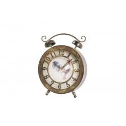 Orologio sveglia ferro gallo anticato vintage country da tavolo shabby chic