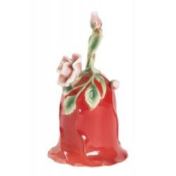 Campanello da tavolo porcellana campanellino rosa rossa fiore campana