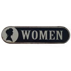 Targa pannello latta toilette toilet women donne vintage arredo metallo insegna