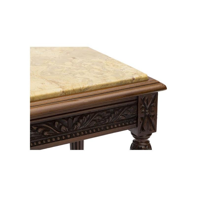 Tavolo Quadrato Legno E Marmo.Tavolino Tavolo Legno Noce Quadrato Marmo Dorato Tavolo