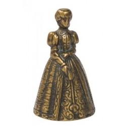 Campanella 10cm dama ottone donna brunito campana campanellino da scrivania