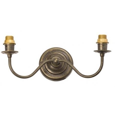 Applique da muro 2 luci ottone brunito vintage lampada parete luce