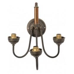 Applique da muro ottone brunito legno 3 luci vintage lampada parete arredo luce
