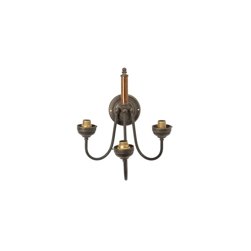 Applique da muro ottone brunito legno 3 luci vintage for Lampada arredo