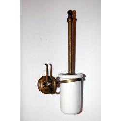 Portascopino scopino toilette ottone brunito ceramica serie Onda arredo bagno