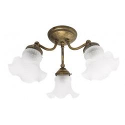 Lampadario plafoniera vintage ottone brunito lampada luce sospeso tre luci