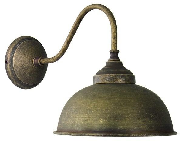 Applique da muro luce oslo ottone brunito vintage lampada parete