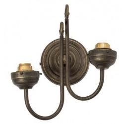 Applique da muro ottone brunito 2 luci vintage lampada parete arredo luce