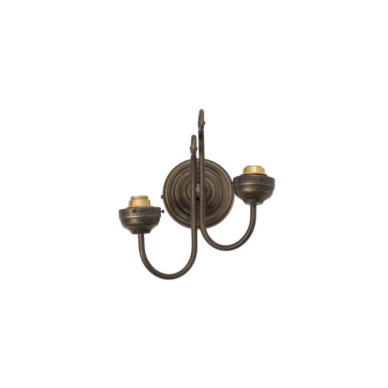 Applique da muro ottone brunito 2 luci vintage lampada for Lampada arredo
