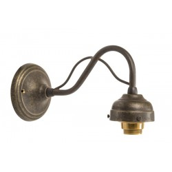 Applique da muro 1 luce ottone brunito curvo vintage lampada parete luce arredo