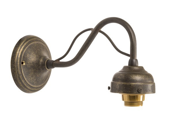 Applique da muro 1 luce ottone brunito curvo vintage lampada parete