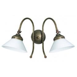 Applique da muro due luci ottone brunito vintage classic lampada parete luce