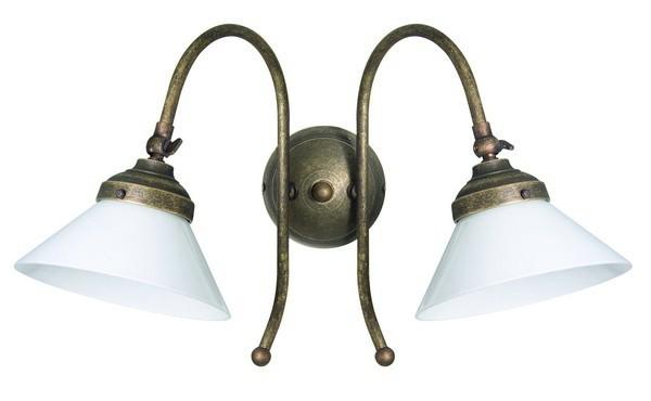 Lampada Vintage Da Parete : Applique da muro due luci ottone brunito vintage classic lampada