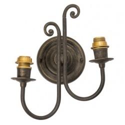 Applique da muro due luci ottone brunito vintage classic lampada parete