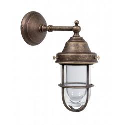Applique da muro ottone brunito faro vintage lampada parete esterno giardino