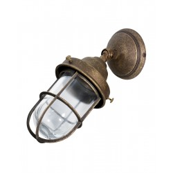 Applique da muro ottone brunito faro vintage lampada parete giardino esterno