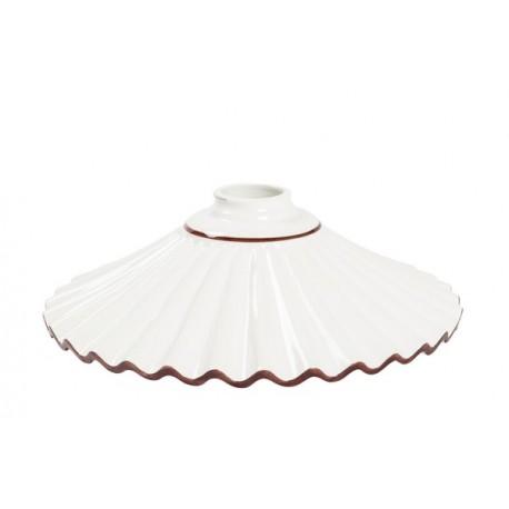 Piatto paralume ceramica plissettato 29cm marrone lampadario