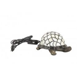 Lampada stile Tiffany tartaruga bianca da tavolo vetro ottone abat jour