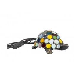 Lampada stile Tiffany tartaruga multicolore da tavolo vetro ottone abat jour