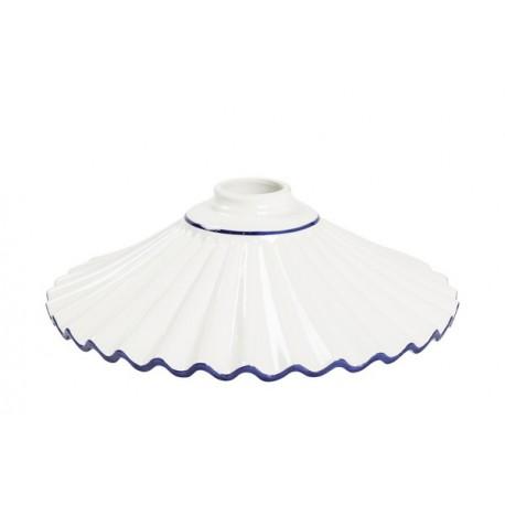 Piatto paralume ceramica plissettato 29cm blu lampadario