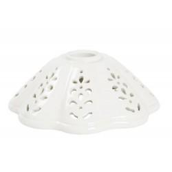 Paralume ceramica cono traforato 17cm bianco lampada ricambio