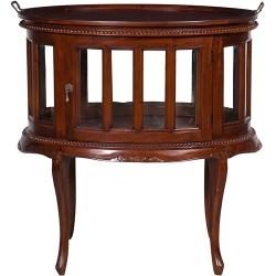 Credenza mobile bar tavolo legno noce anta vetro vassoio vintage vetrinetta
