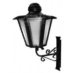 Applique lanterna esagonale con mensola parete esterno ferro battuto