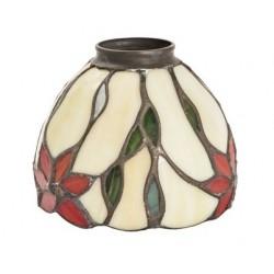 Paralume stile Tiffany 13cm fiori rossi verdi lampada applique
