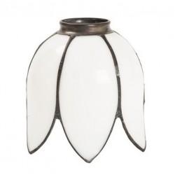 Paralume stile Tiffany 14cm fior di loto bianco lampada applique